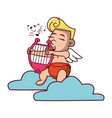 cupid on cloud with harp vector image vector image
