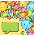 Cute child background with kawaii doodles Spring vector image