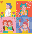 cute horoscope girls zodiac vector image vector image