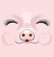 cute muzzle of a pink pig of vector image