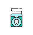 dental floss tooth care flat color line vector image