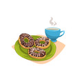doughnut with chocolate glaze on green plate and vector image