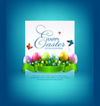 easter eggs with grass and flowers vector image vector image