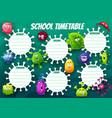 education school timetable cartoon virus cells vector image