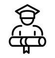 final exam graduation icon outline style vector image vector image