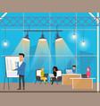 freelancer making presentation in shared workplace vector image vector image