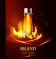 glass vial on a dark background in flames vector image vector image