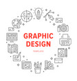 graphic design circle poster with line icons vector image vector image