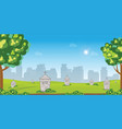 graveyard with old tombstones among green grass vector image vector image