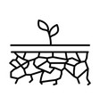 growing small plant in land soil linear icon vector image