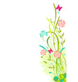 Grunge floral background with red and blue flowers vector image
