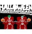 Halloween skeleton greeting card vector image vector image