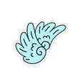 hand-drawn youth wings sticker vector image