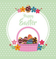 happy easter basket egg floral dots background vector image vector image