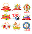 happy easter holiday icon for greeting card design vector image vector image