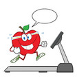healthy red apple cartoon character running vector image