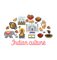 indian culture promo poster with national symbols vector image vector image