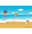 kids on seashore vector image vector image