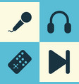 multimedia icons set collection of earmuff vector image vector image