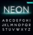Neon alphabet Glowing font part 1 vector image vector image