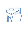 office tools line icon concept office tools flat vector image vector image