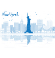 Outline New York city skyline with blue buildings vector image vector image