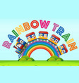 rainbow train with kids riding on it vector image vector image
