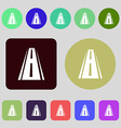 Road icon sign 12 colored buttons Flat design vector image