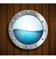 Round porthole on a wooden surface vector image vector image