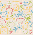 seamless pattern with eco symbols in sketch style vector image vector image