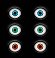 set of human eyes with multicolored iris vector image