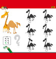 shadows activity game with giraffe and camel vector image vector image