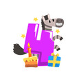 sweet zebra and number four happy birthday vector image vector image