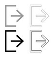 symbol exit icon set grey black color vector image