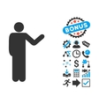 Talking Man Flat Icon with Bonus vector image vector image