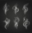 translucent smoke set isolated on dark background vector image vector image