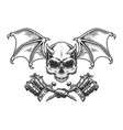 vintage monochrome demon skull with wings vector image vector image