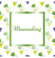 winemaking poster in square frame with pattern vector image