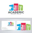 Academic logo with business card template vector image