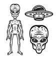 aliens and ufo objects or design elements vector image vector image