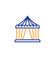 amusement park tent line icon circus sign vector image
