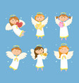 angel girls and boy christmas and valentines day vector image