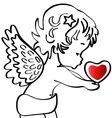 Angel with a heart vector | Price: 1 Credit (USD $1)