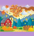 autumn theme landscape 1 vector image vector image