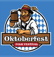 badge of oktoberfest with old man and beer vector image vector image