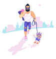 bearded guy walk dog vector image