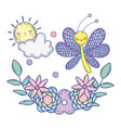 beautiful butterfly with floral decoration vector image vector image