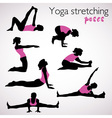 Beautiful set of yoga poses vector image vector image