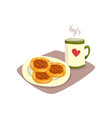 big cup of hot tea or coffee and tasty homemade vector image vector image