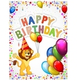 Birthday background with happy lion vector image vector image